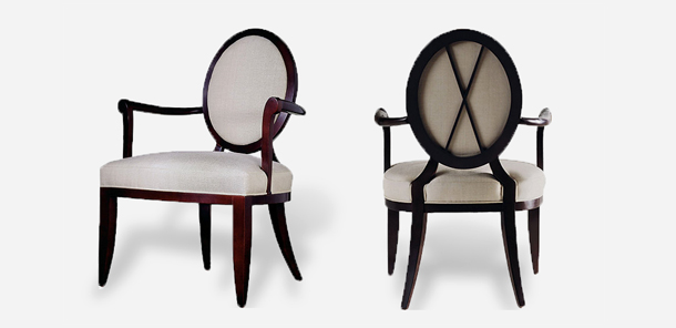 Oval X-Back Dining Arm Chair